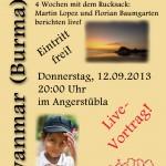 kleines Plakat zu dem Vortrag am 12.09. in Bad Staffelstein